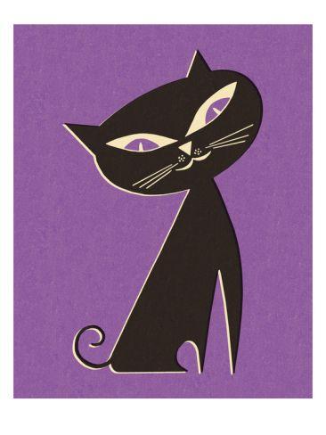 Black Cat on Purple Background