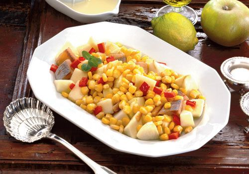 Corn and raw mango salad   Serves: 2  Ingredients  1 cup corn kernels or corn on the cob  1 tbsp onions chopped  1 tbsp spring onions chopped  1 tbsp red bell peppers  1 tbsp raw mango diced  ½ celery stalk, peeled and diced  6 cherry tomatoes  1 tbsp pineapple diced  1 tsp each parlsey, cilantro leaves  4 basil leaves  ½ avocado diced  2 tsp lemon juice  1 tbsp olive oil  3 to 4 Taco shells  Black salt and white pepper to taste  Method:  Blanch the corn in boiling salted water until tender…