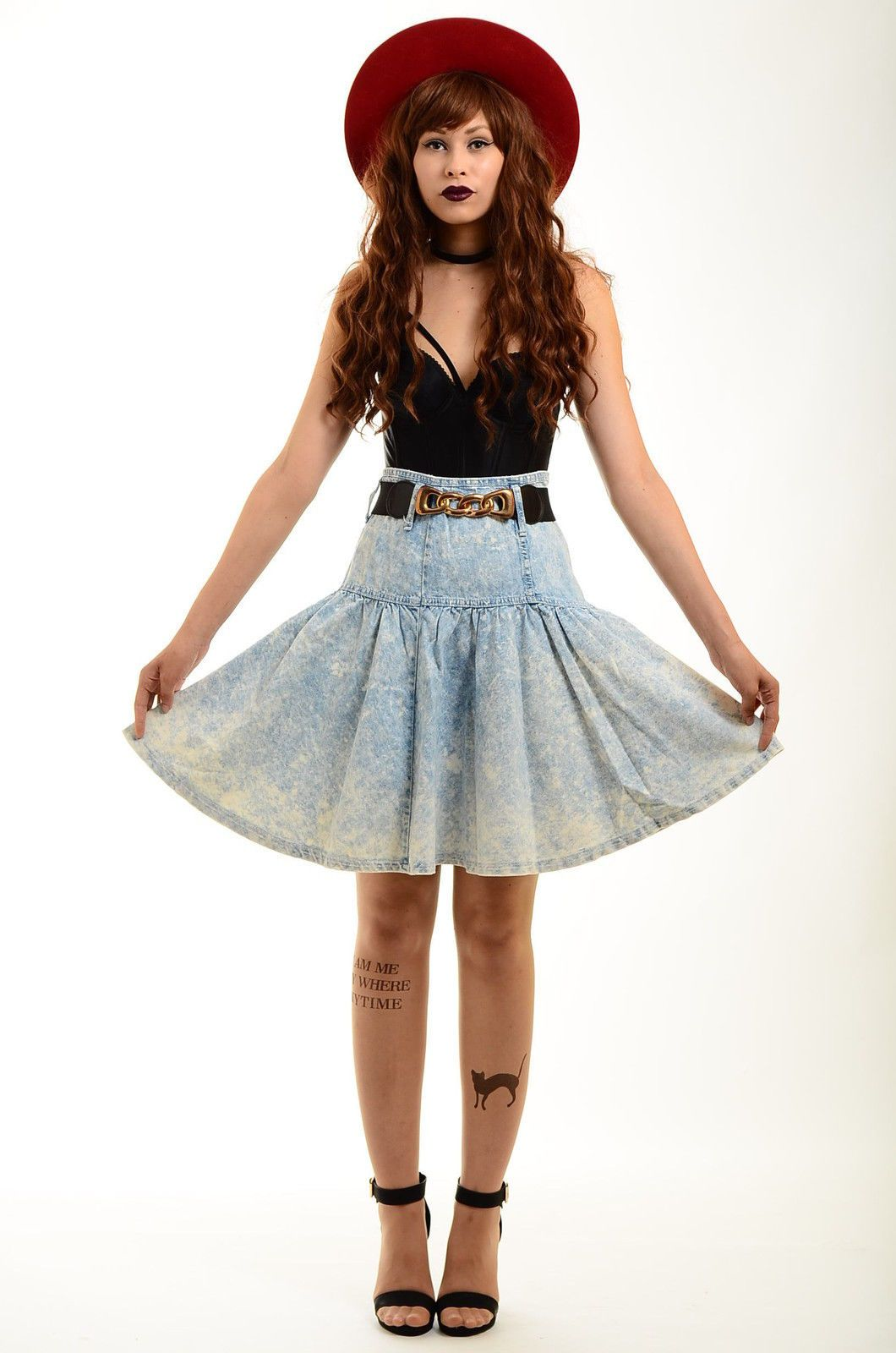 high waist denim shirt country goth style http://stores.ebay.co.uk/electricskinnyvintage