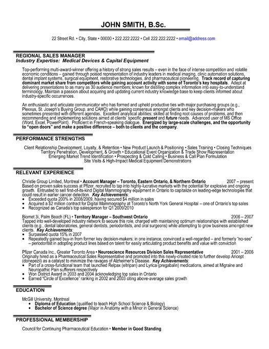 A Professional Resume Template For A Regional Sales