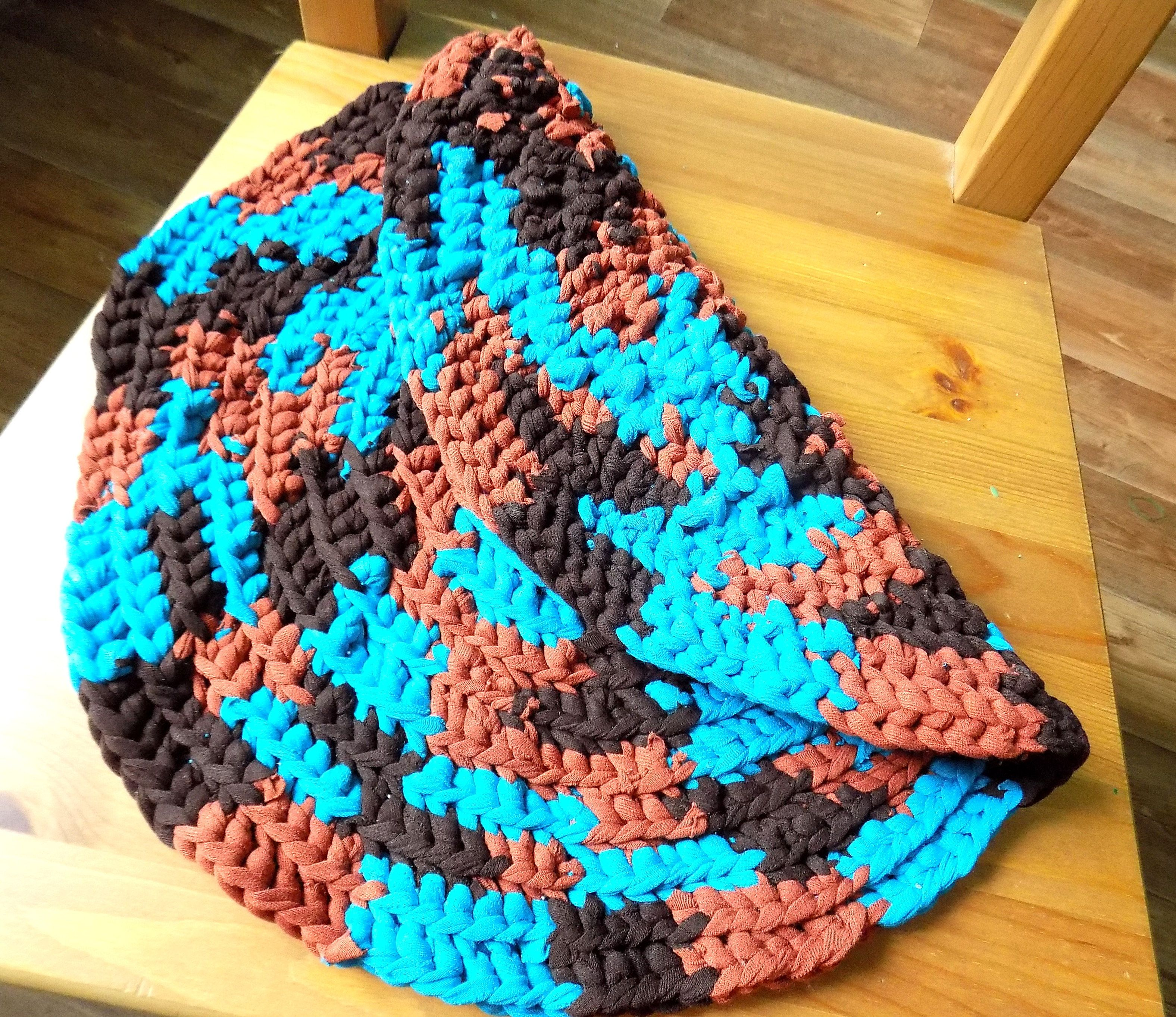 Round Placemat Blue Crochet Seat Cover Brown Crochet Handmade Mat, Play Mat,  Small Rag Rug, Blue Brown Small Round Crochet Cat Cat Mat, Chair Seat Pad,  ...