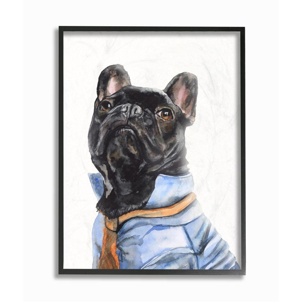 Stupell Industries 11 In X 14 In French Bulldog Fashion Dog Pet By George Dyachenko Framed Wall Art Multi Colored French Bulldog Wood Wall Art Watercolor Animals