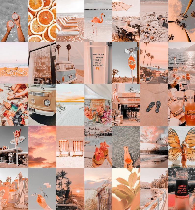 Aesthetic Pastel Orange Beach Vibe Wall Collage kit   Digital Copy   Pack of 50 photos