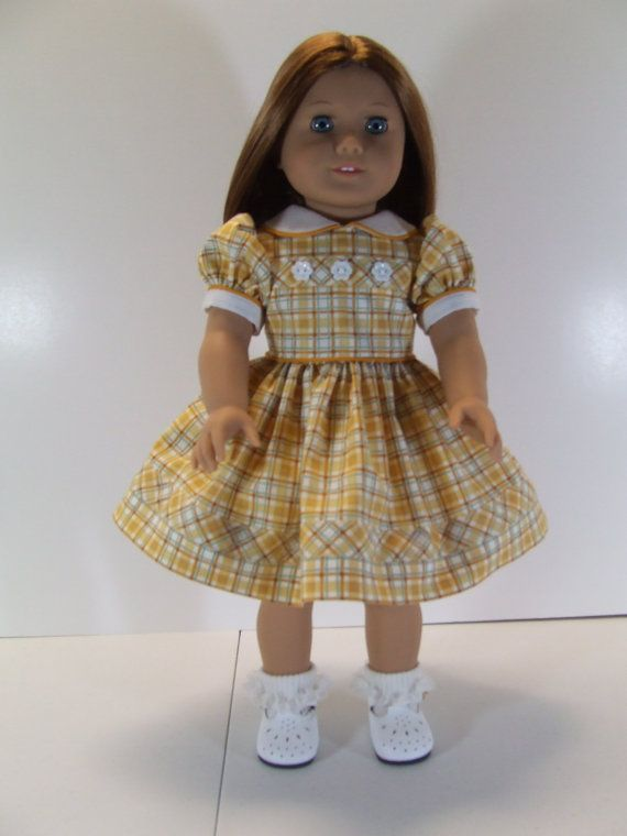 Yellow Plaid dress for American Girl Doll by agseamstress on Etsy, $48.00