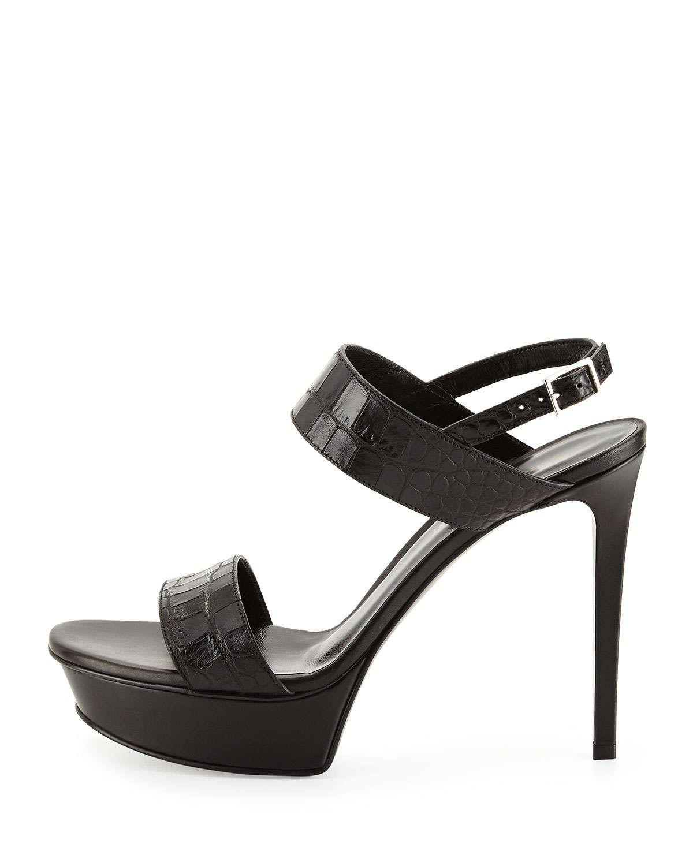 Saint Laurent Embossed Platform Sandals collections 5hCbE