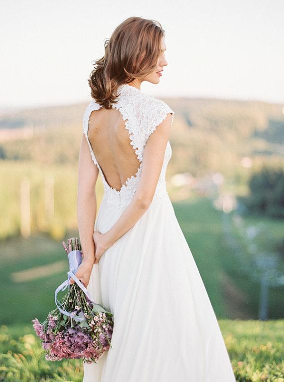 Milk shade open back wedding dress // Romantic wedding dress ...