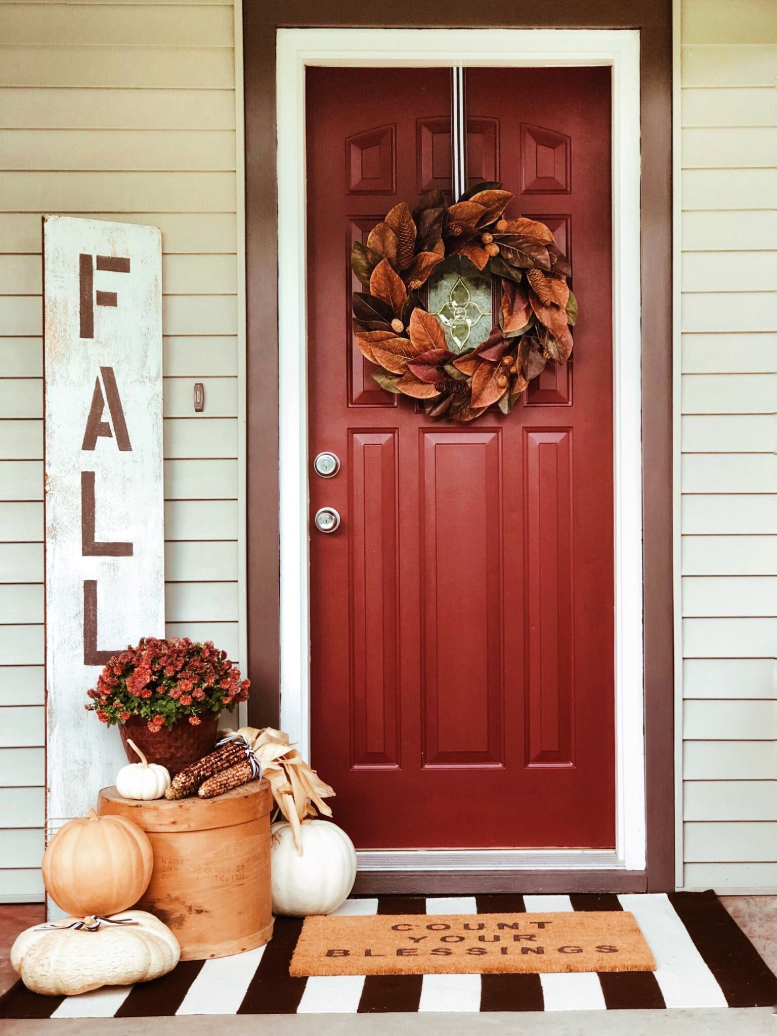 Fall Front Porch Style Inspiration Front Door Fall Decor Front Door Decor Fall Front Door