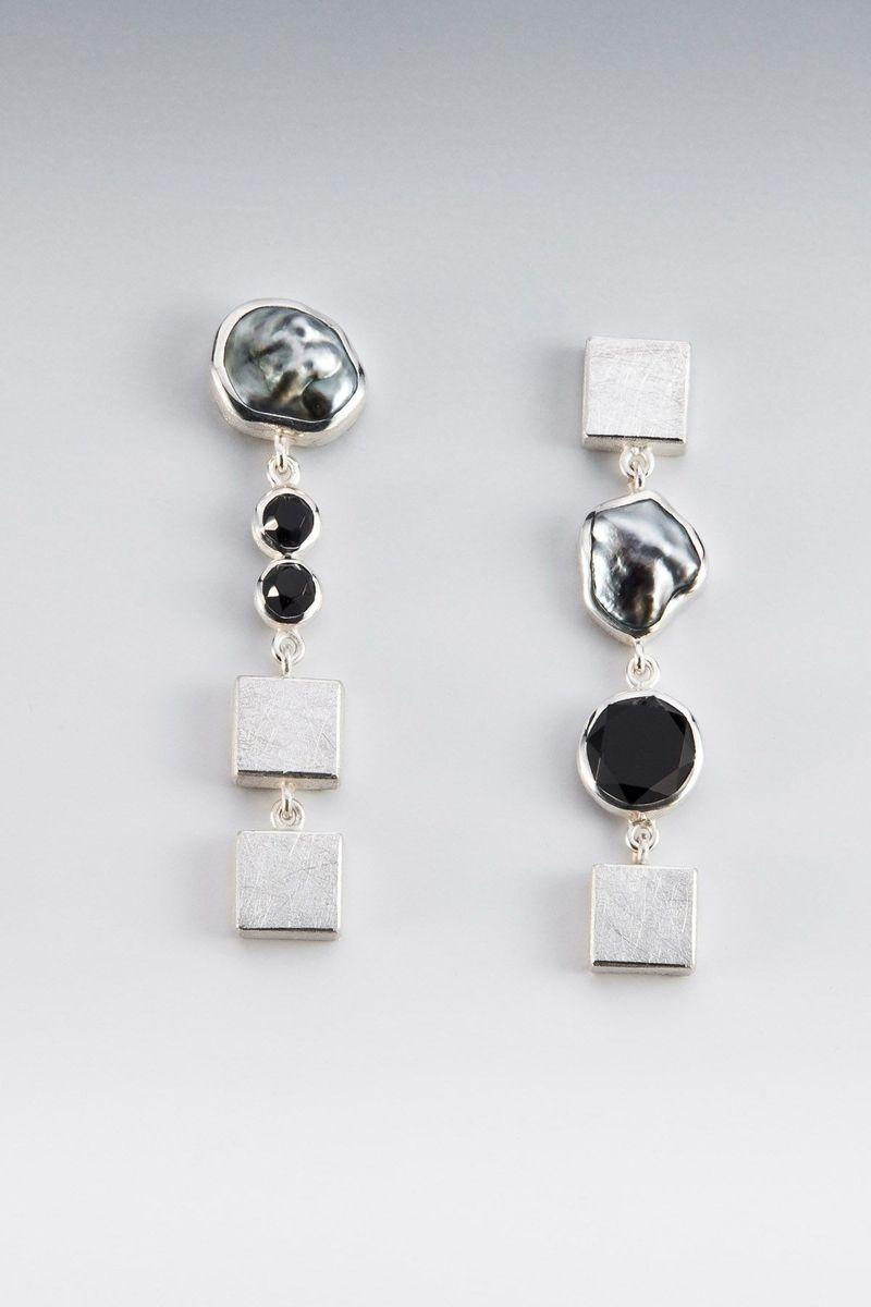 Custom Made Earrings  Sterling Silver, Faceted Onyx, Tahitian Keshi Pearl