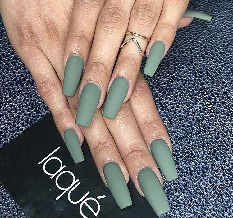 Army Green Nail Extensions. #Matte #Nails #Laque #CoffinNails ...