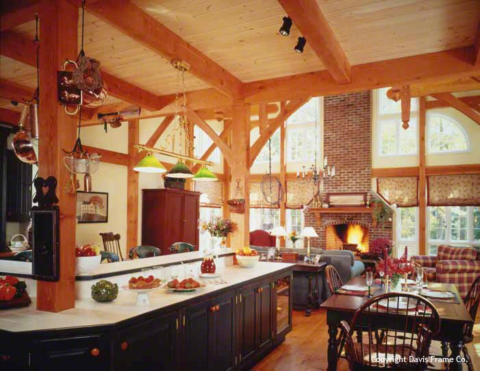 Colonial style timber frame home click to close image for Open beam house plans