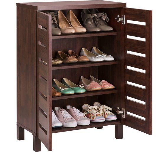 Home Slatted Shoe Storage Cabinet Mahogany Effect At Argos Co Uk