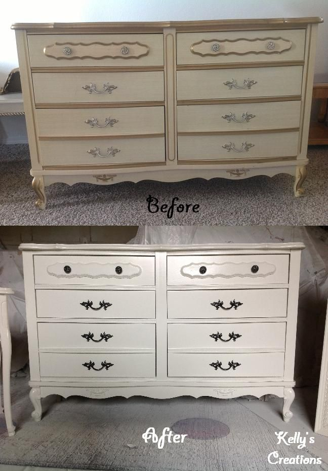 White French Provincial dresser with black drawer handles before and after  pictures  Refinished by Kelly s. White French Provincial dresser with black drawer handles before