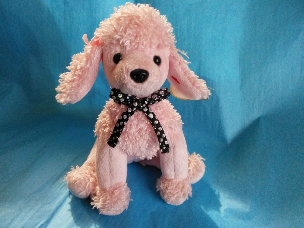 c4d8a639cbf BRIGITTE TY The Pink poodle Dog Beanie Babies 2001 Bows Hang Tush tag  Ty