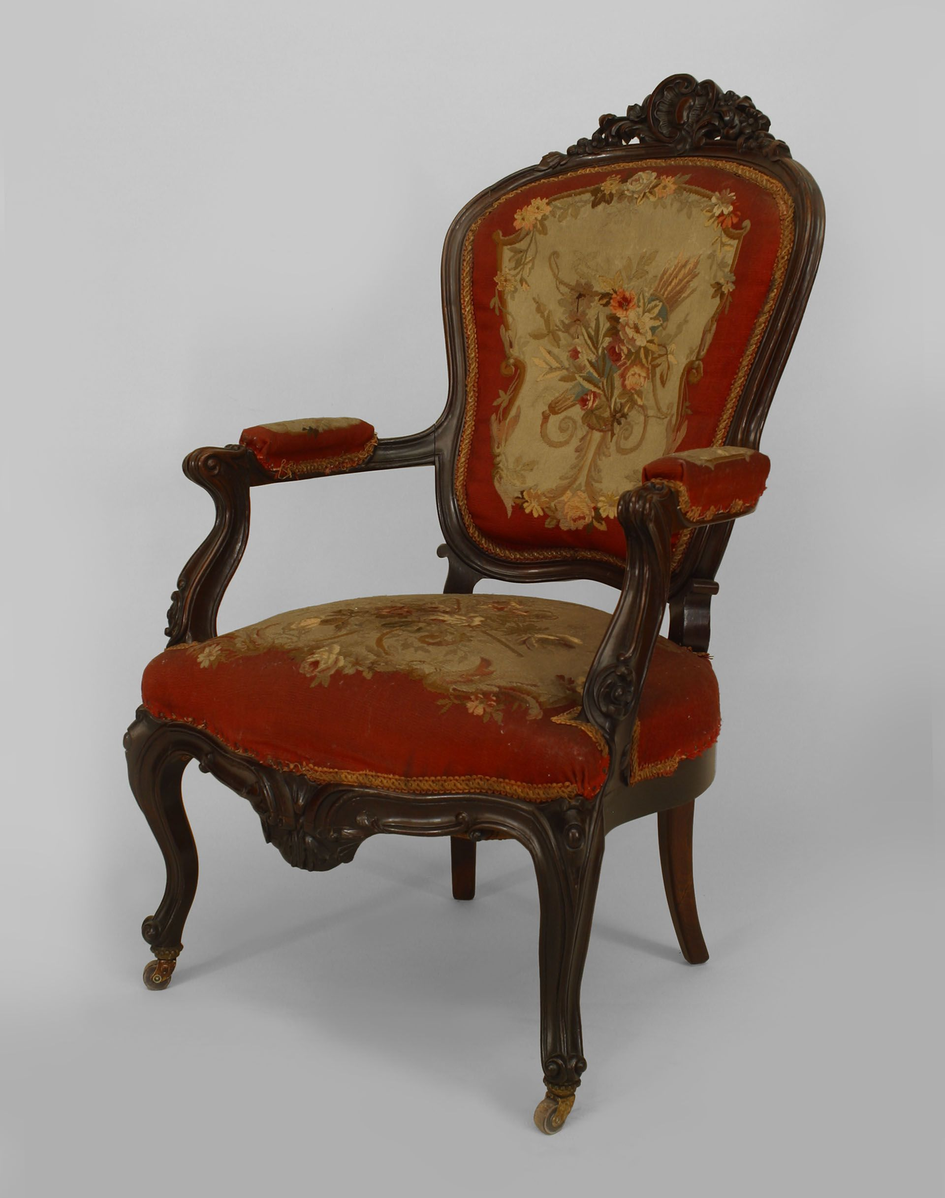 French Victorian seating chair/arm chair-pair rosewood ...