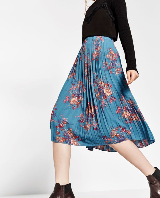 b7524a21cc PLEATED PRINT SKIRT - COLLECTION-SALE-WOMAN Floral Pleated Skirt, Pleated  Skirts,