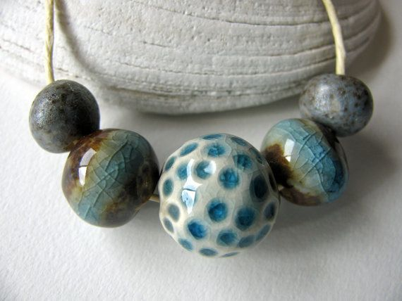 Forest Stream Beads Stoneware Clay 5 by TinasBeadMind on Etsy