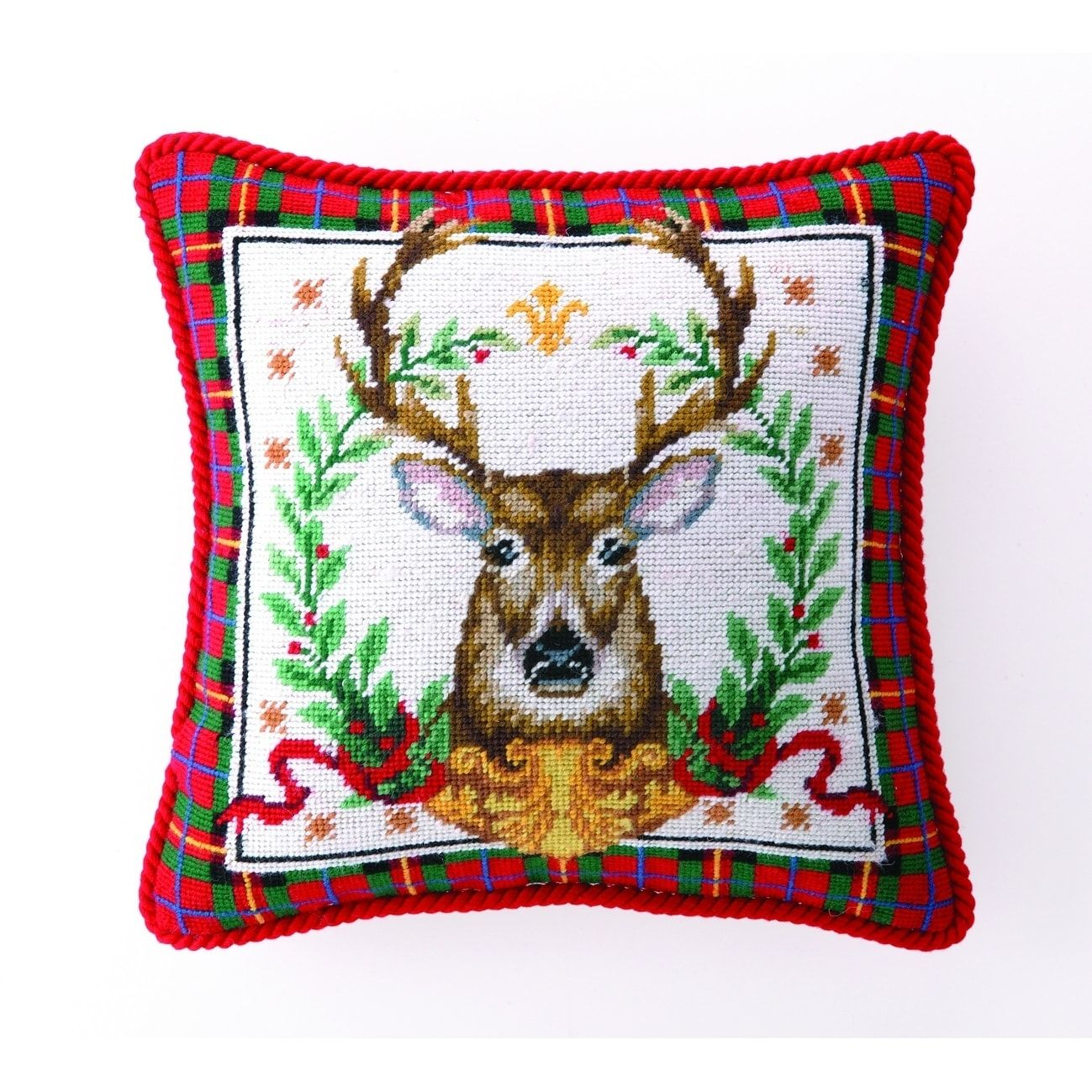 Suzanne Nicoll Christmas Deer Needlepoint Pillow   Products ...