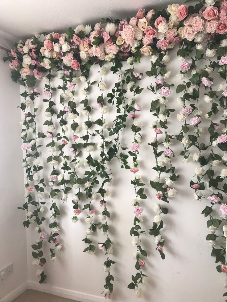 Flower Garland Flower Wall Floral Garland Wedding Wall Flower Swag Photography Backdrop Flower Wall Backdrop Floral Backdrop In 2020 Flower Wall Backdrop Wedding Wall Flower Wall