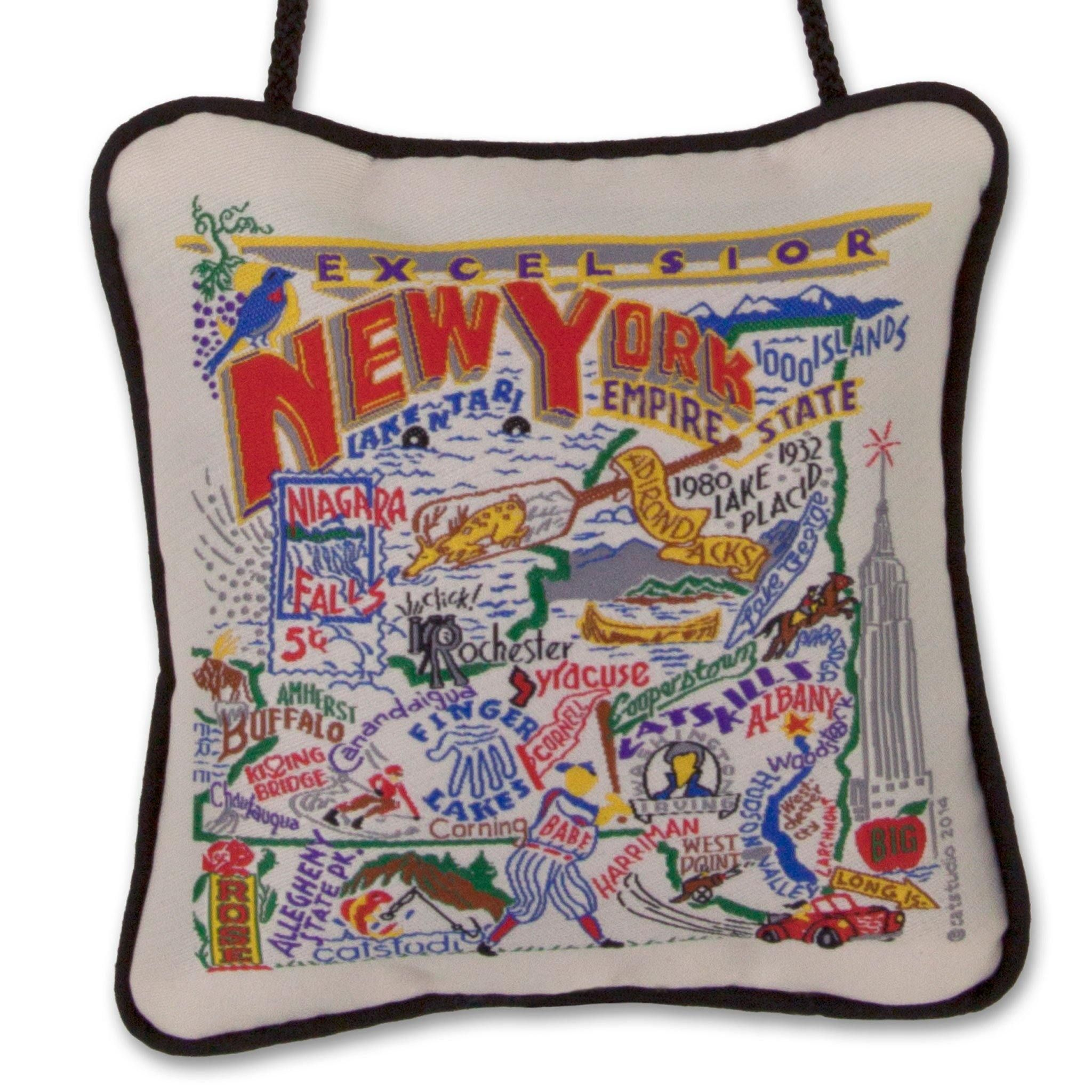 New York State Mini Pillow Ornament State Christmas Ornaments Holiday Hostess Gifts New York State