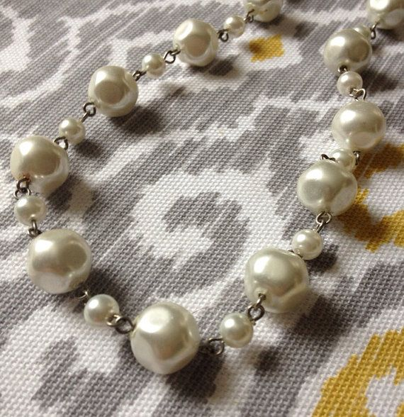Vintage inspired pearl linked silver necklace great for by ajwear, $20.00