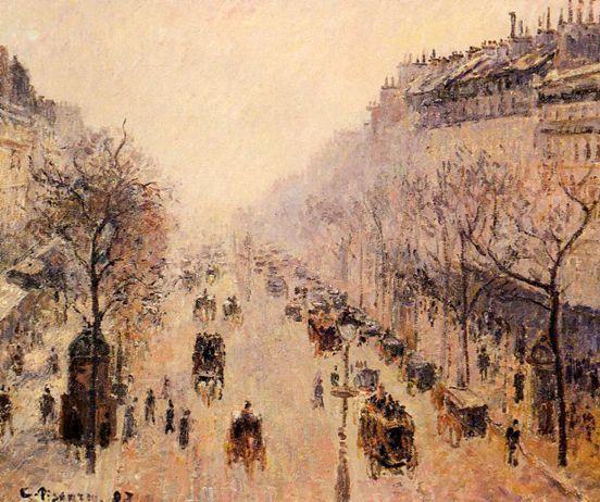 Boulevard Montmartre - Morning Sunlight and Mist: 1897