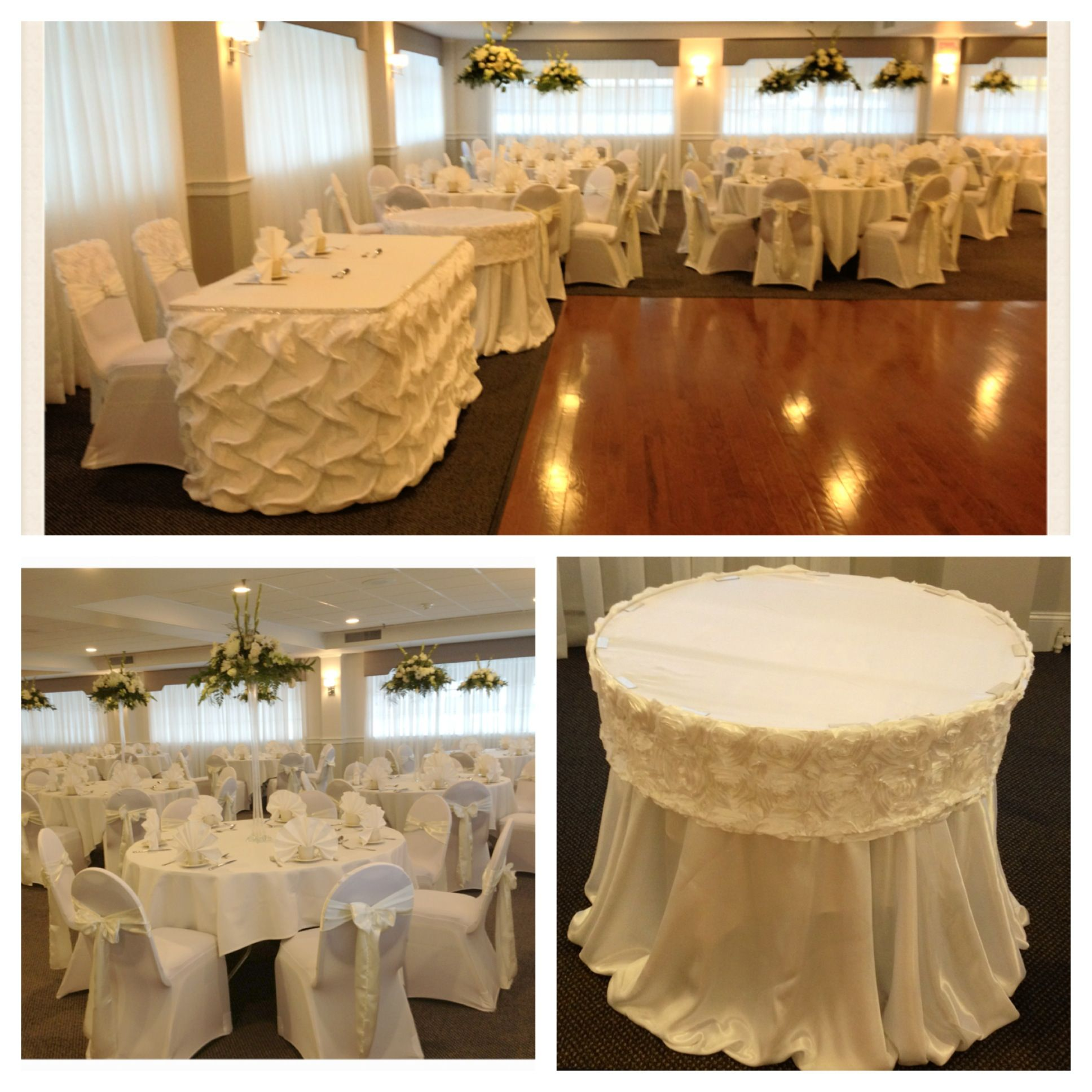 "White & Ivory ""Platinum Package"" couture chair caps couture table"