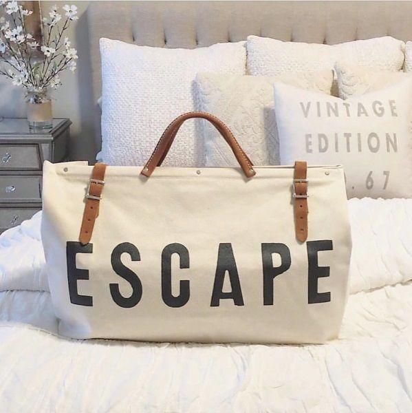 White ESCAPE Canvas Bag