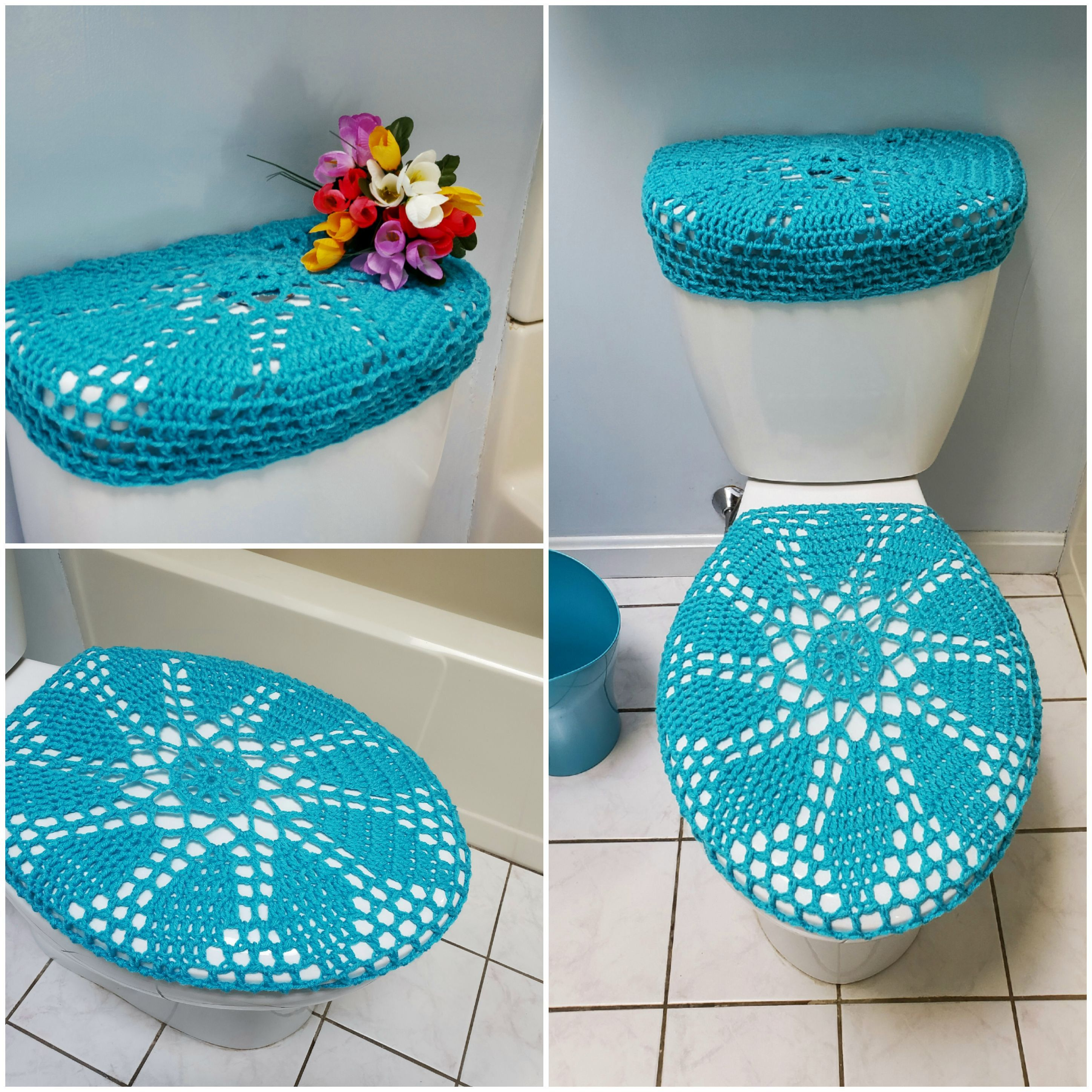 Crochet Toilet Seat Cover Or Tank Lid Cover Turqua Tsc28i Or