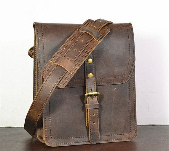 Vertical Leather Satchel Small Leather Messenger Bag Leather Ipad Bag Leather…