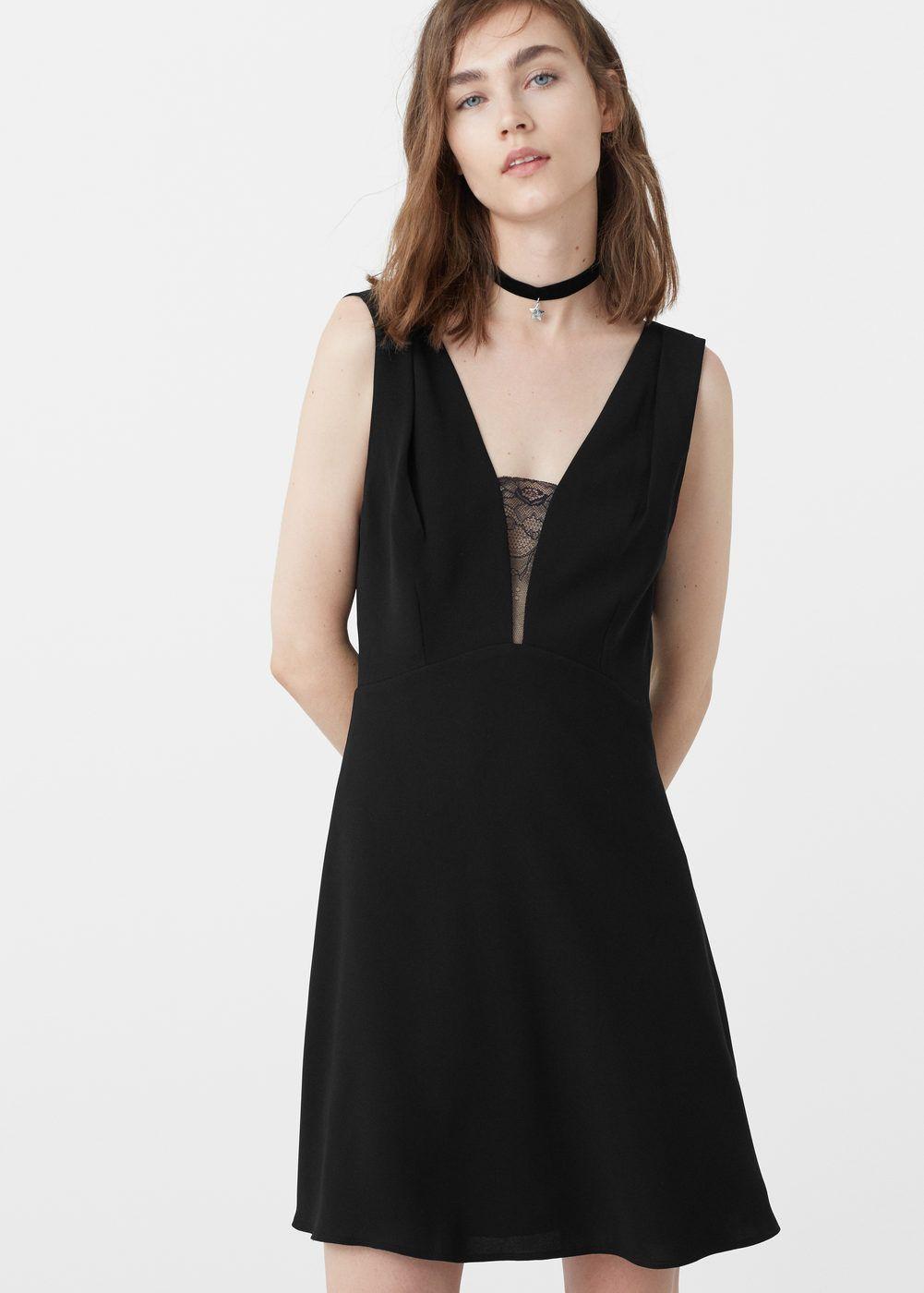 f125cc959 Vestido aplique encaje - Vestidos de Mujer