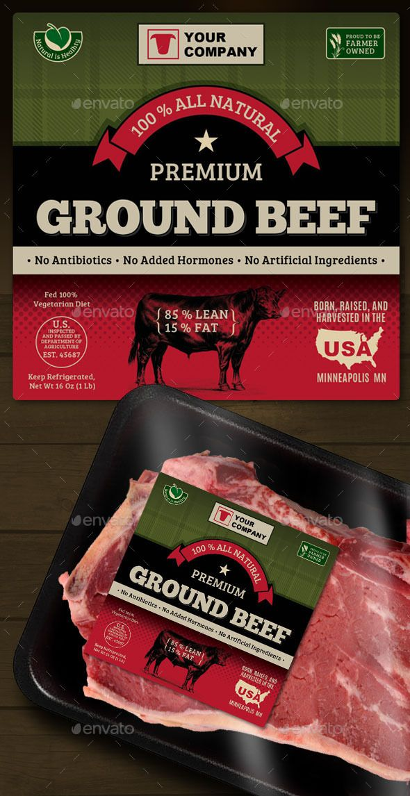 Ground Beef Label  Print Templates Template And Fonts
