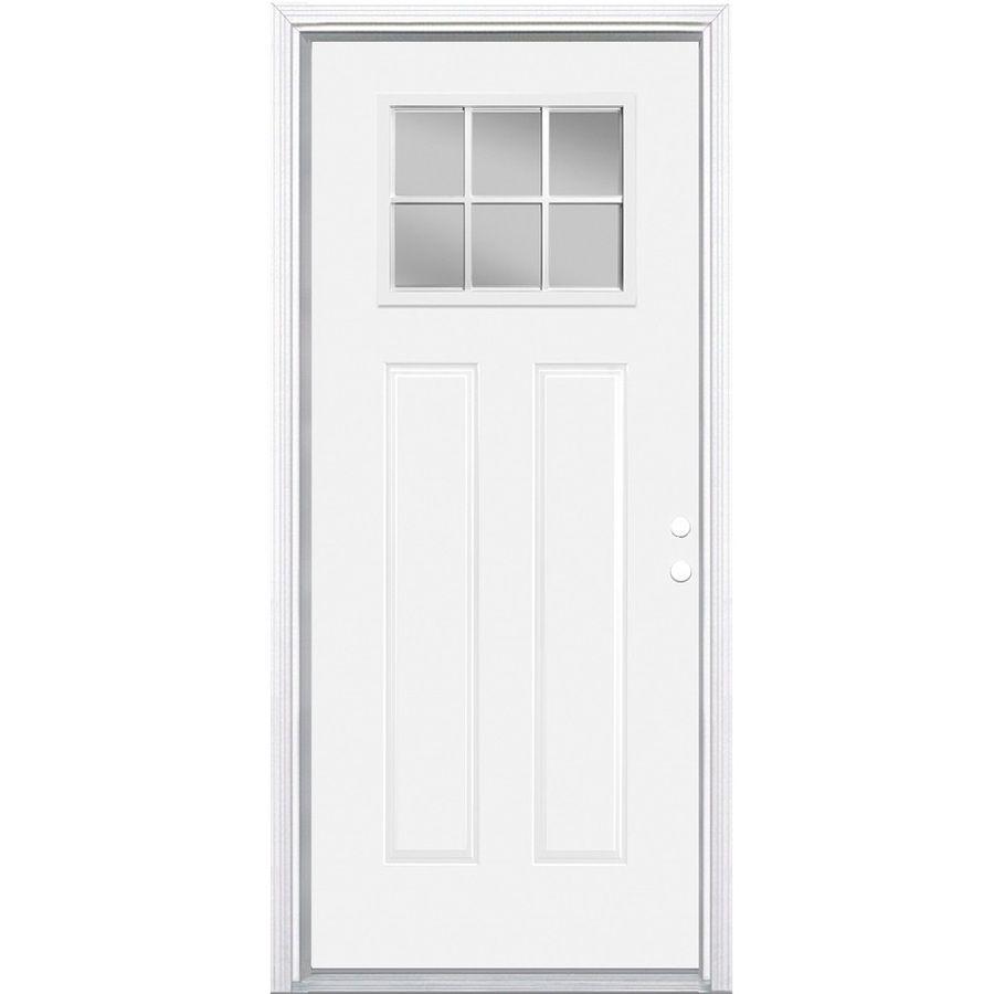 Masonite 2 Panel Insulating Core Craftsman 6 Lite Left Hand Inswing Primed Steel Prehung Entry Door Common 32 In X 80 Entry Doors Steel Entry Doors Masonite