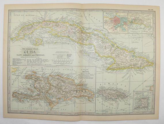 Vintage Map Cuba Jamaica Map Haiti Caribbean Islands West - Vintage map of jamaica
