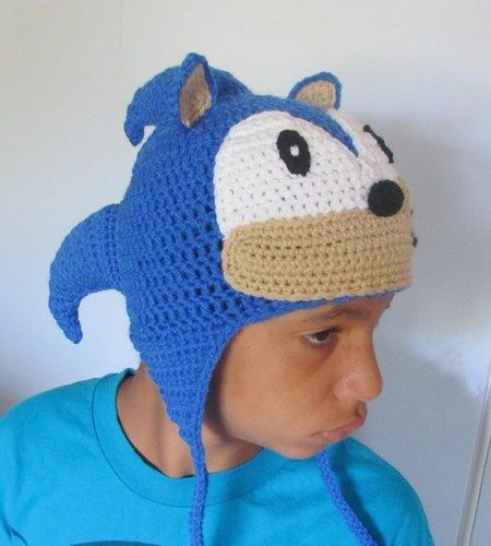 Classic Sonic the Hedgehog Crochet Earflap made to order  7604bfb7cb4