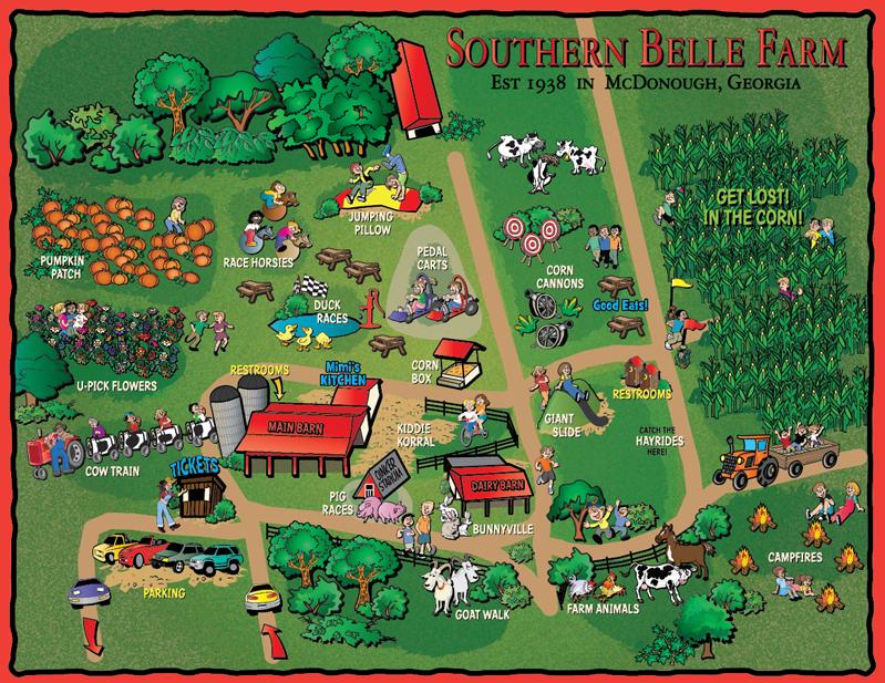 Map Of Southern Belle Farm In Mcdonough Ga Agritourism Farms Farm Design Farm Fun
