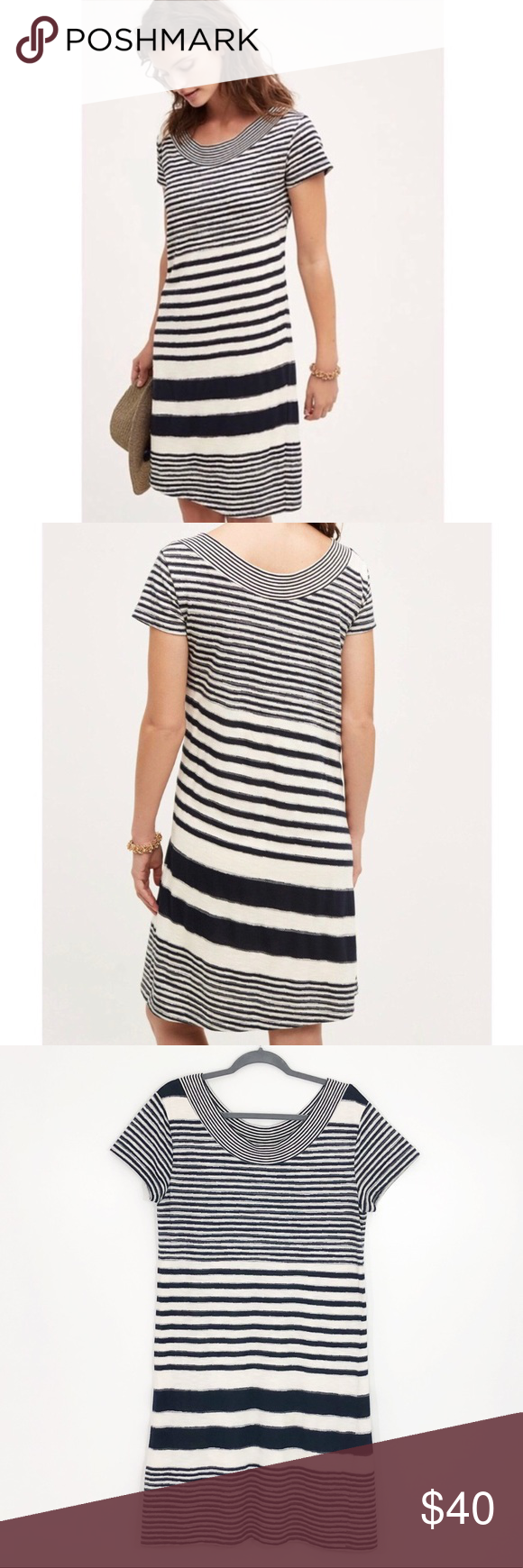 e529a717ceb7 Anthropologie Maeve Haven Striped Dress Navy Cream Anthropologie Maeve  Haven Striped Knee-length Dress Colors are Navy and Cream Fully lined Short  sleeve ...