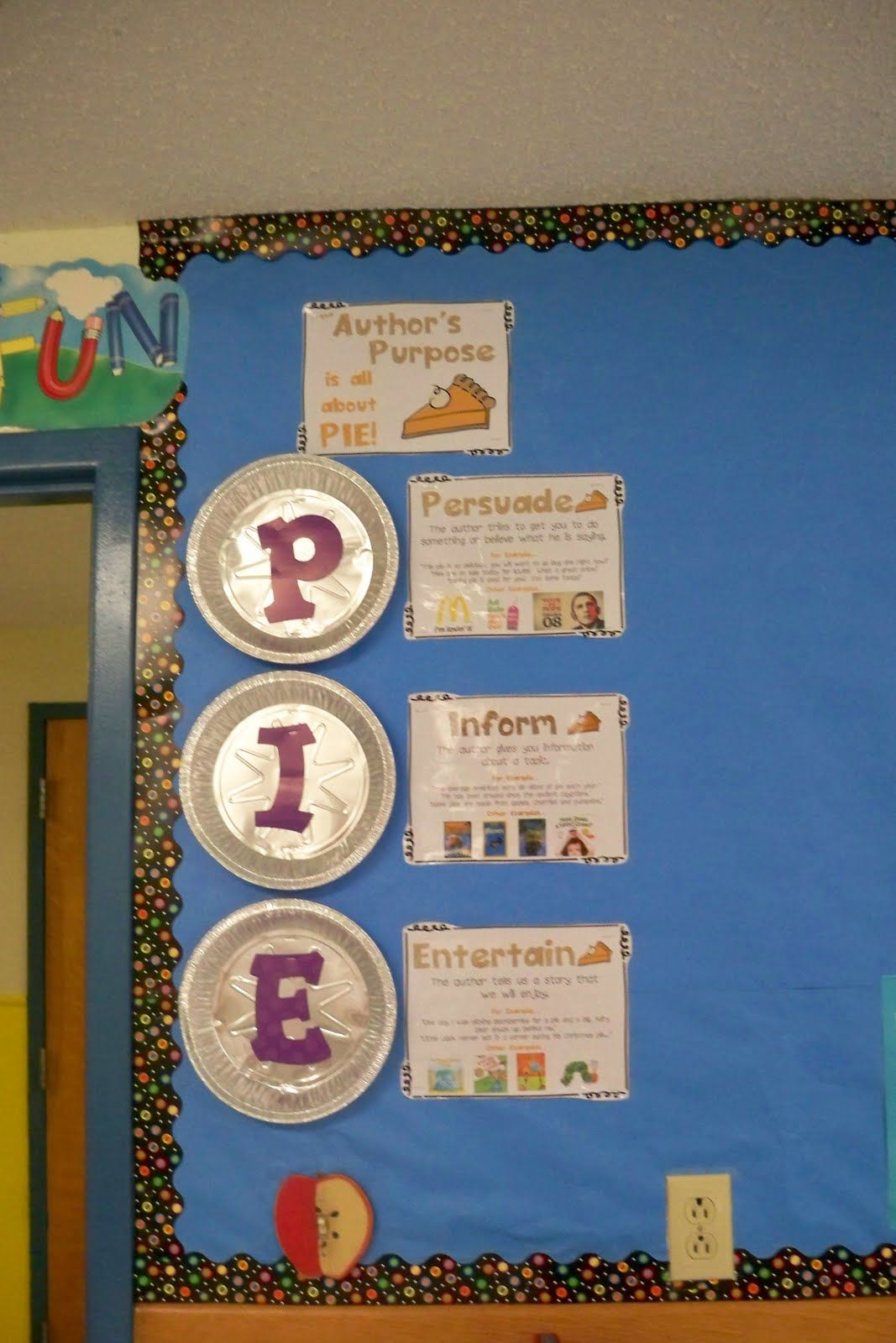 Author S Purpose Pie Bulletin Board Great For Language