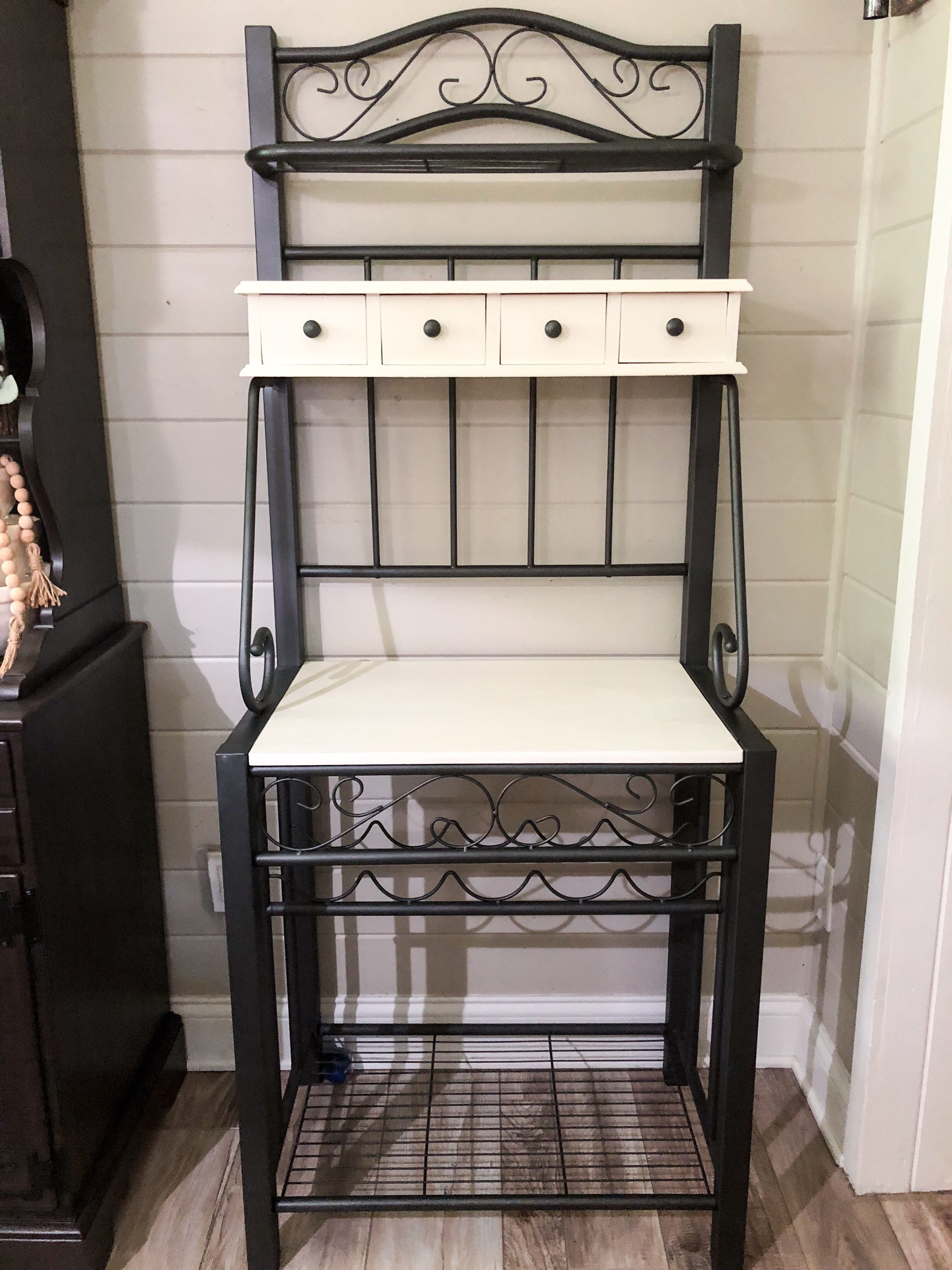 Bakers Rack Makeover With Images Bakers Rack Farmhouse Bakers