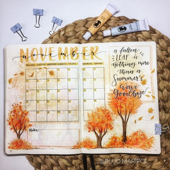 15 Cozy Bullet Journal Layouts Perfect For Fall - Nikola Kosterman #novemberbulletjournalcover