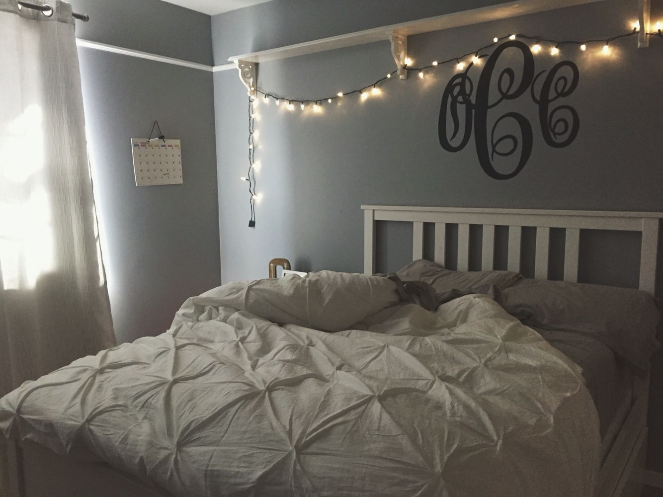 My room teenage bedroom fairy lights grey white bedroom for Bedroom ideas grey bed