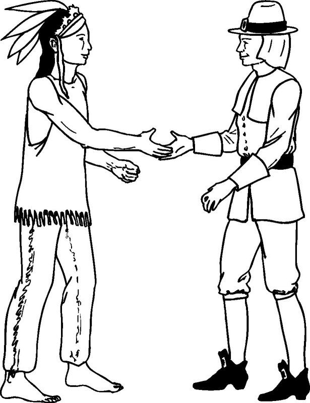 native and Pilgrim | Color Thanksgiving for Children, Teens ...