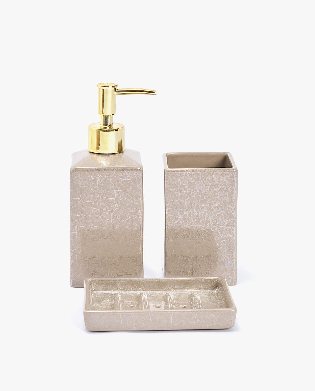 Marble Effect Ceramic Bathroom Set Wooden Bathroom Accessories