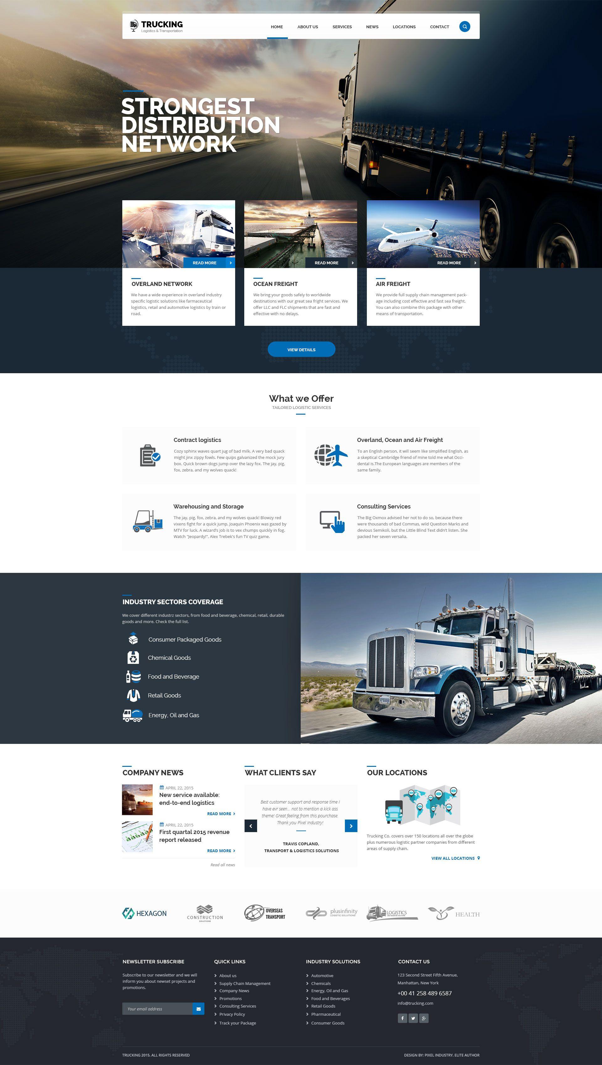 Trucking Transportation And Logistics Psd Template Transportation Trucking Logistics Temp Homepage Design Web Design Websites Website Design Inspiration