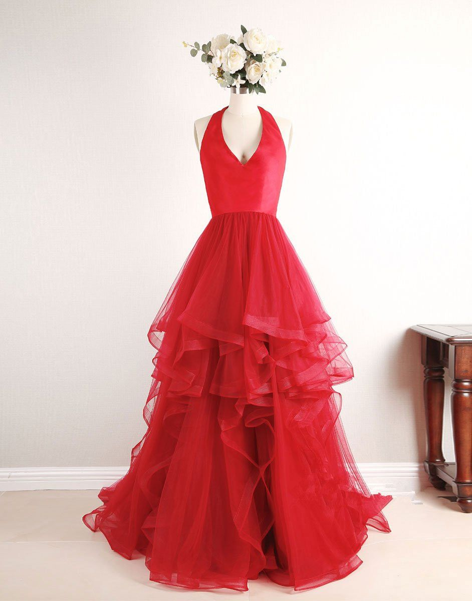 Red tulle sweetheart high low pretty prom dresses cute formal
