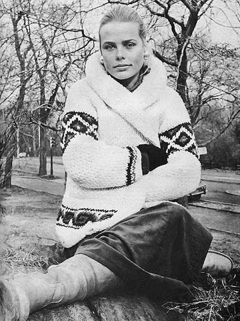 Margaux Hemingway in a cable knit sweater; had a sweater like this.