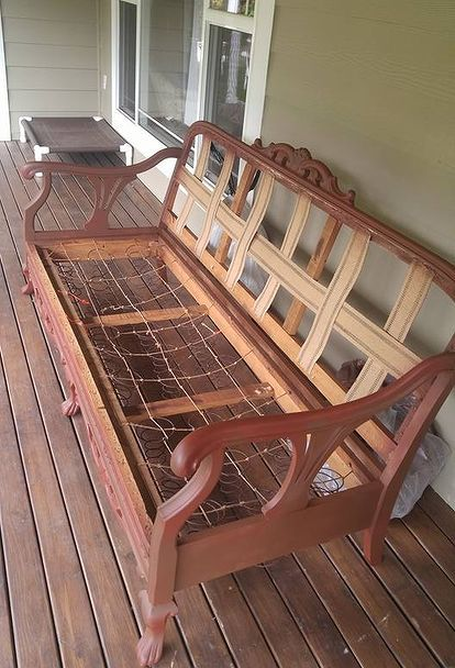 How To Bring An Old Couch Back To Life | Wooden Couch, Furniture, Vintage Couch
