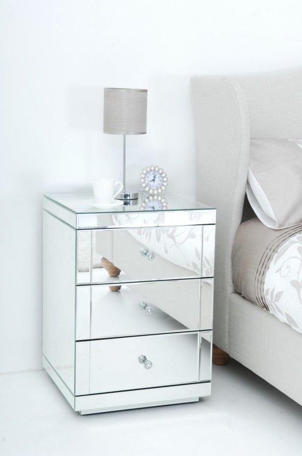 Mirrored Bedside Table With Drawers: Mirrored Bedroom Furniture