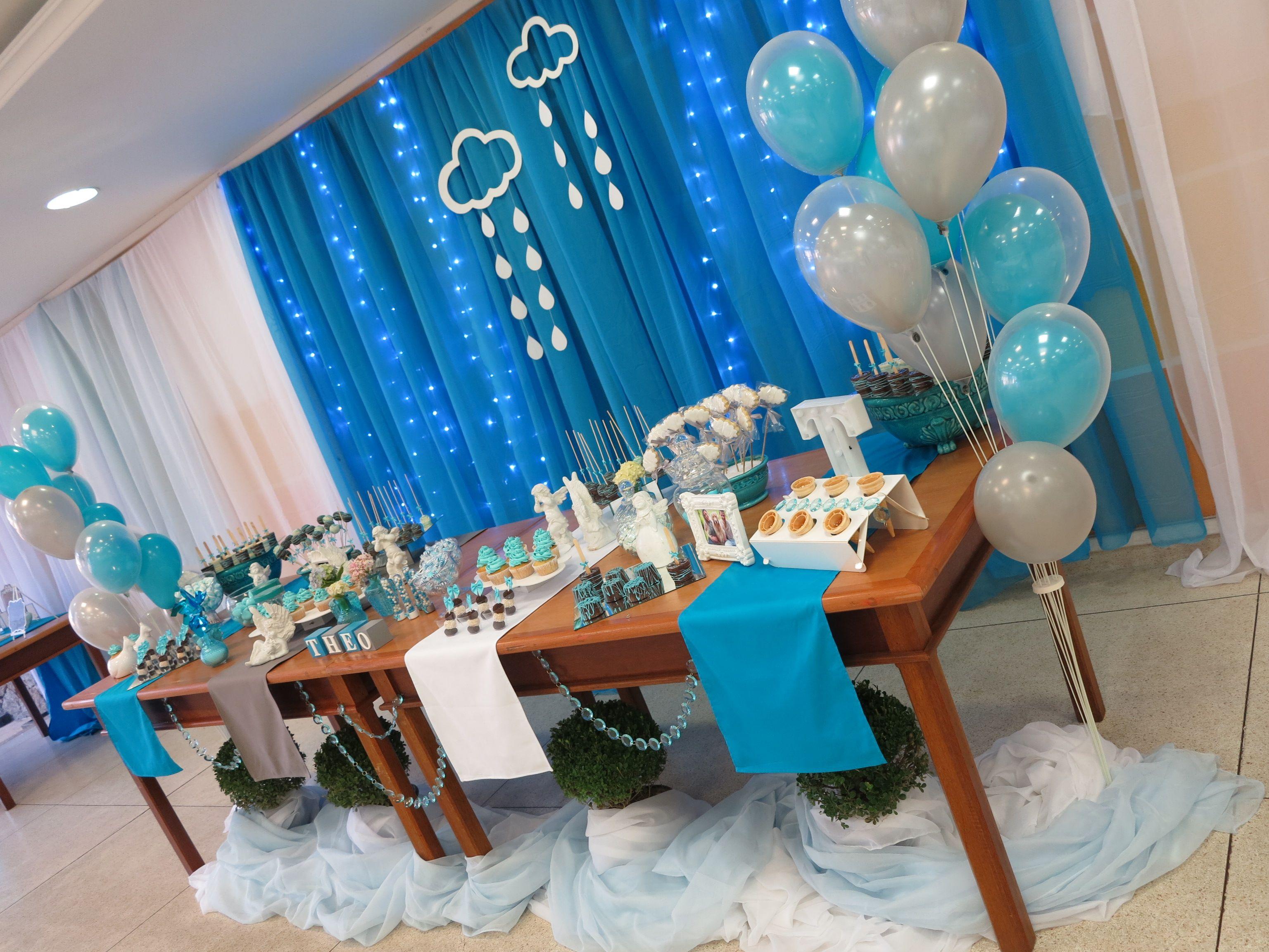 Decoraç u00e3o Azul turquesa, cinza e branco Chá de fraldas menino Tema Nuvens Chá do Theo em 2019  -> Decoração Chá De Fraldas Tema Nuvem