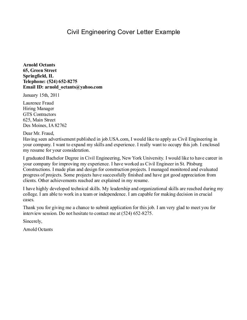 Civil Engineer Cover Letter Example | Example Cover Letter | 123 ...