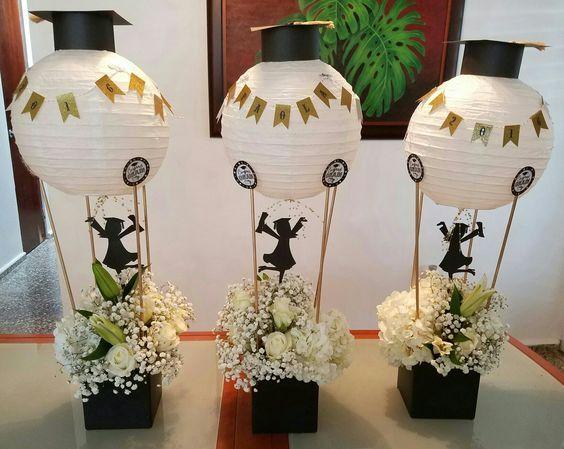 10 ideas de centros de mesa para graduaci n graduation - Jardines decorados para fiestas ...